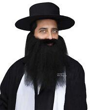 FULL Crimped Mustache Beard ZZ Top Biker Pirate Hasidic Jewish Costume Black