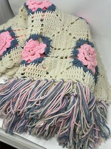 "*+Vintage Afghan 3D Pink Roses Cream / Pink Blue Fringe 72""x 48"" Throw Blanket"