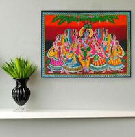 Lord Krishna radha Gopis play rasleela sequin wall hanging tapestry decor poster