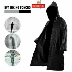 Waterproof  Rain Coat Jacket With Button Mens and  Womens Long Hooded Raincoat