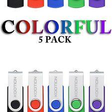 5 Pack 4GB Rotating Memory Stick Colorful USB 2.0 Flash Pen Drive Storage U Disk
