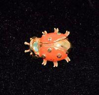 "Vintage Orange Green Enamel Gold Tone Whimsical Lady Bug Pin Brooch - 1 1/4"" W"