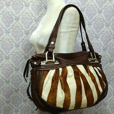 B Makowsky Brown Pebbled Leather Calf Hair Large 2 Handle Shoulder Bag Handbag