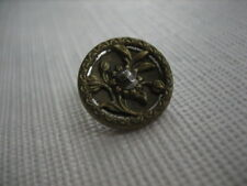 "Vintage Small 5/8"" Brass Button, Plant Life with Cut Steel Center - M90"