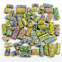 56 Antique Millefiori Venetian Glass African Trade Beads - Watermelon Mosaic