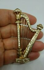 Mid-Century Paste Jeweled Large Sterling Silver Harp Pin/Brooch w Gold Wash