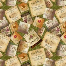 Tuscan Delight Fabric - Wine Label Toss Green - Wilmington YARD
