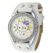 Reloj HELLO KITTY blanco, brillantes y remaches Precioso. A1138