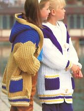"Childrens Duffle Jacket Hood & Patch Pockets  24"" - 32"" Chunky Knitting Pattern"