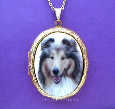 Porcelain Shetland Sheepdog Sheltie Dog Cameo Goldtone Locket Pendant Necklace