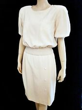 VTG 80s VALENTINO BOUTIQUE Blouson Top Short Sleeve Ribbing Accent Wool Dress 10