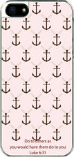 iPhone 5 Pink and Brown Faith Anchor Luke 6:31 Design Sticker on Hard Case Cover
