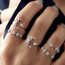 5Pcs/Set Fashion Lady Star Moon Rhinestone Knuckle Finger Ring Jewelry Gift Fine