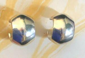 """Sterling Silver Earrings Wide Domed Hoop Huggie Chunky .50"""" 7.5g 925 #1627"""