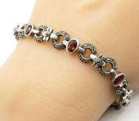 925 Sterling Silver - Vintage Garnet & Marcasite Round Chain Bracelet - B4221