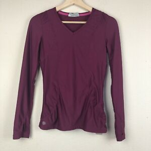 ATHLETA Berry XXS Gathered Lace WICK IT GOOD Long Sleeve Shirt Thumbholes M33