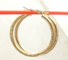 "2mm X 25mm 1"" Diamond Cut Round Hoop Earrings REAL 14K Yellow Gold"