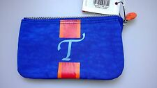 "NWT Kipling Creativity Small Pouch/Cosmetic Bag in Blue with Letter ""T"""
