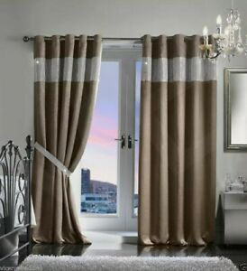 """Diamonte Black out Eyelets- Curtains - size 90x90"""" fully lined Taupe"""