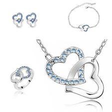 Light Blue Crystal Heart Jewellery Set Match Necklace, Earrings, Bracelet, Ring