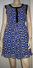 STELLA Blue Multi Geometric Print Sleeveless Lined Summer Tea Dress Size 10