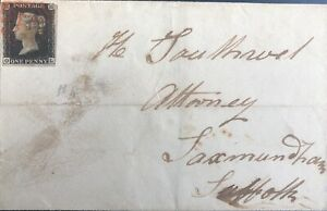 GB QV 1840 ENTIRE PENNY BLACK 'OL' PL 04 FROM WOODBRIDGE TO SAXMUNDHAM SUFFOLK