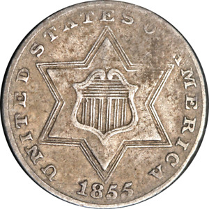 1855 Three (3) Cent Silver VF/XF Details Nice Eye Appeal Nice Strike