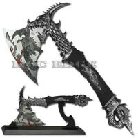 "14.5"" Fantasy Dragon Axe Knife Sword Dagger w/ Display Stand"