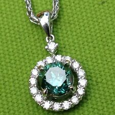 Ladies Blue Irradiated Diamond Pendant in 18k White Gold