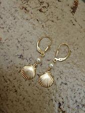 Ohrringe in 585 Gold Filled mit Muschel und Perle, wundervoll sommerlich!