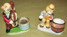 2 Vtg Happy Hobo Clown Figurines Toothpick Candle Holder Jasco Porcelain Cello