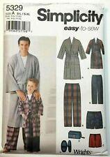 Simplicity 5329 Boys Mens Pajamas Robe Pants Shorts Slippers Bag S-XL Pattern UC