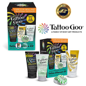 Tattoo Goo Aftercare Kit 4-in-1 - Best Healing & Protection - Lotion Salve Soap