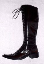 MURATTI bottes zip + laçage, cuir glacé ébène P 36 TBE