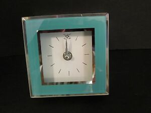 "Turquoise Mirror Framed Block Shelf Clock, 4 1/2"" Square, New"