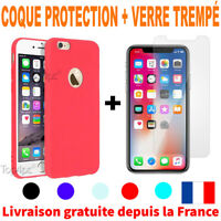 Cover Coque iPhone 6 7 8 Plus Xr Xs MAX X Slim Protection + Film Verre trempé