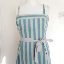 Debenhams linen mix dress Grey Aqua Teal stripe sz 16 Strappy Tie Waist Wedding