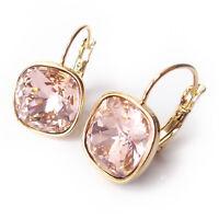 Vintage Blush Rose Crystal Drop Earring w/12mm Cushion Cut Swarovski Gold Plated