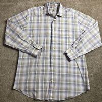 Peter Millar Men Large L Multi Color Plaid Button Up Dress Shirt Cotton Work