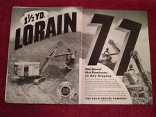 1938 2 pg Ad Thew Shovel Company, Lorain 77 Crane at Work in Salem, Indiana