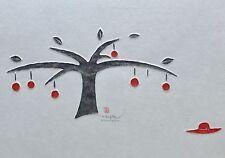 Joung Eun Ramaker The apple tree embossed Takbon print hand signed Korean Artist