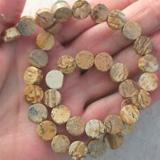 """15.5"""" strand, Picture Jasper fat Coin beads, 10mm and 5mm thick"""