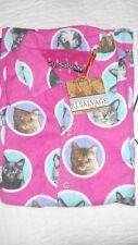 NWT PJ Salvage Flannel Cats Print Pajama Top, Sz Small, Pink/Fucshia, Cat Faces
