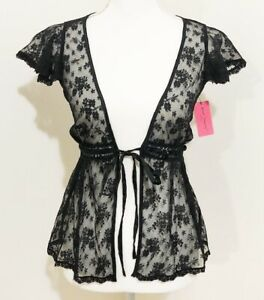 Betsey Johnson Intimates Black Lace Tie Front Sheer Babydoll Size XS-S NWT