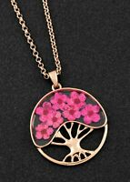 Equilibrium Eternal Flowers Tree of Flowers Rose Gold Plated Necklace Gift Boxed