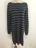 Ann Taylor LOFT Merino Wool-Blend Shift Sweater Dress Gray w/Navy Stripes Sz L