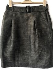 Burberry Tulip Style Belted Skirt Side Pockets Size UK 10 Fits 12