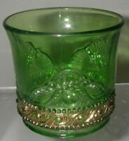 US Glass JEWEL/Lacy Medallion Green/Gold Toothpick Holder Souvenir Malone NY