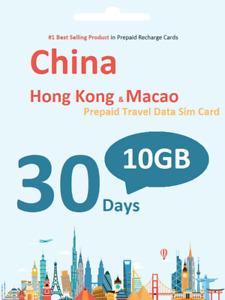 China Travel - 30 Days Prepaid Travel data SIM card 10GB Data incl. HK Macao