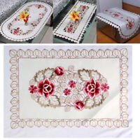White Vintage Embroidered Lace Tablecloth Dining Table Cloth Doily Wedding Home